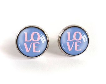 Love stud earrings, inscription image cabochon post earrings, photo earrings, glass dome rose quartz and serenity picture jewelry, pink blue