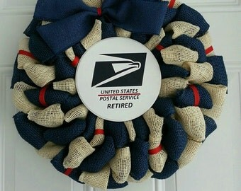USPS retired wreath Postal wreath year round wreath navy and cream wreath United States Postal Service wreath
