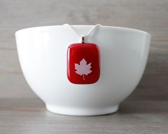 Red and White Maple Leaf Fused Glass Pendant & Silver / Satin Necklace; Proud to be Canadian; Canada 150; Made in Canada