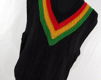 Vintage 80s 90s IOU I.O.U. Sweater Vest L Large Mens Jamaica Jamaican Red Yellow Green Stripe Black Cable Knit J5