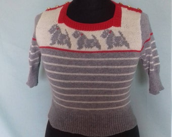 Handmade knitted square neck reproduction 1940s jumper.