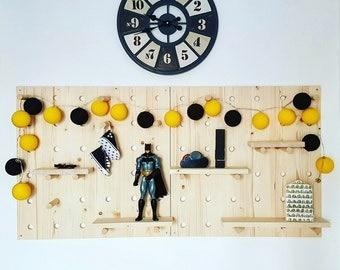 Pegboard System. 60 wood wall Organizer x 60 cm