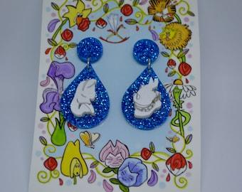 Alice in Wonderland - Alice, White Rabbit, pansy earrings -  inspired earrings