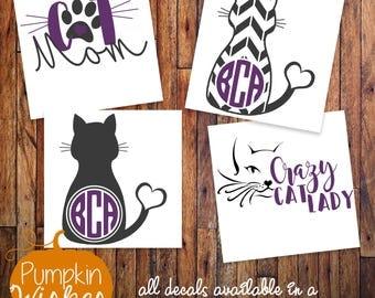 Cat Mom Decal/Fur Mama/Crazy Cat Lady Decal/Cat Decal/Paw Print Decal/Cat Yeti Decal/Yeti Decal
