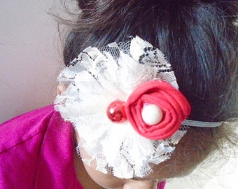Cream & Red flower headband, Flower baby headband, Girl headband