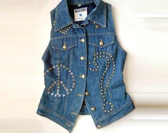 vintage 80's 90's MOSCHINO Jeans Denim studded sleeveless jacket gilet Small