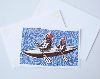 Bears in a canoe greetings card - hand printed lino cut
