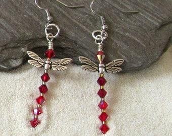 Red Crystal & Silverplated Wings Dragonfly Drop Earrings, Dragonfly Dangle Earrings, Red And Silver Dangle Earrings