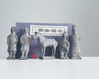 Vintage terracotta Qin Dynasty figurine set