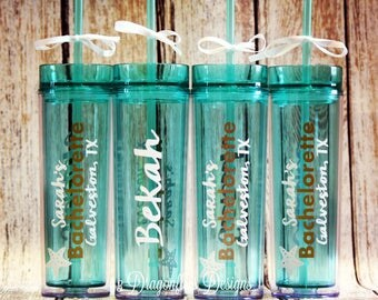 SET OF 5 Personalized Bachelorette Tumblers, Wedding Cup, Sparkle Water Cup, Personal Acrylic Tumbler, Beach Party