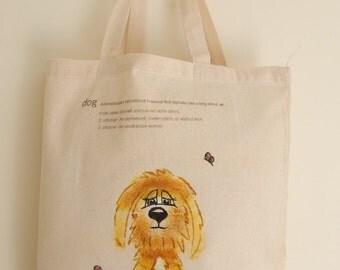 Hand painted golden doodle dog tote bag