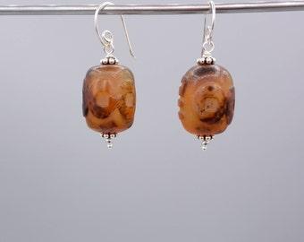 Carnelian Earrings, carved Carnelian Earrings, Carnelian dangles, 925 Silver