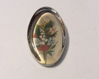 Antique paperweight, vintage paperweight, floral paperweight, glass paperweight, oval paperweight