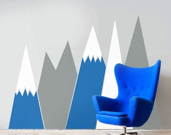 Mountains Wall Decal NURSERY Wall Art Headboard For kids Baby Room washable self adhesive sticker Removable scandinavian pattern Decor