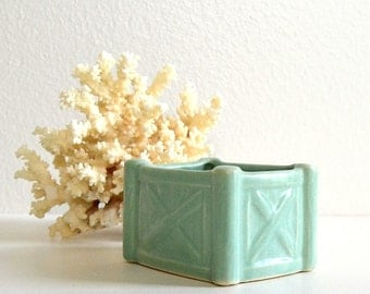 vintage green planter small bowl dish storage green small rectangular planter