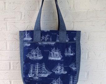 Large nautical tote bag / Super tote / Large carryall bag / Around town bag / Diaper bag / Navy ship fabric bag / Nautical tote