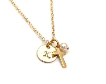 God Daughter Necklace, Personalized Gold Cross Necklace, Baptism or Confirmation Gift, Little Girl Necklace, Gift for Niece Cross Necklace