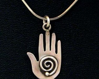 Native American Zuni/Cochiti Made Healing Hand Pendant on Sterling Silver Chain