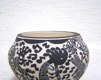 Native American Acoma Handetched Bowl with Kokopelli
