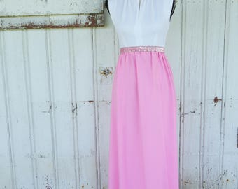 1960's Pink and White Sleeveless Gown with Sequin Waist and Collar
