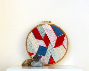 geometric wall embroidery, wall tapestry chart, hoop, textile art, decoration, gift, made in france, nayquach
