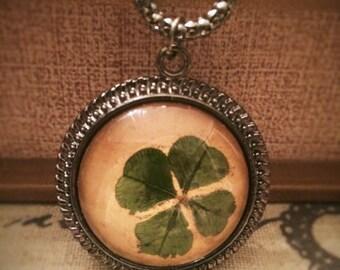 Real Four Leaf Clover Necklace - 4 Leaf Clover Good Luck Lucky Irish Shamrock