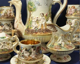 17 Piece Italian Capodimonte Teaset with Lidded Teapot, 6 Teacups and saucers, Lidded Sugar, and  Creamer