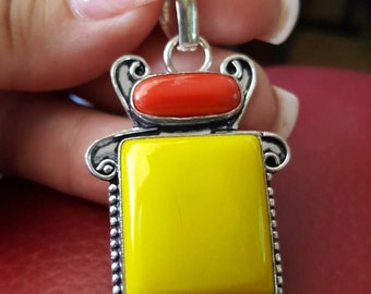 Yellow Jade and Red Coral Pendant!