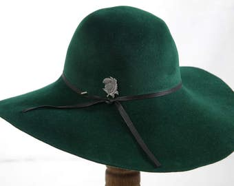 Handmade Green Fur Felt Wide Brim Hat