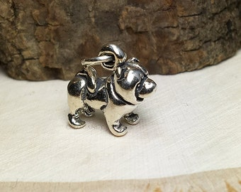 3D Sterling Silver Chow Chow Bracelet Charm, Dog, Puppy, Animal, .925 Silver, DIY, Charms, (C275)