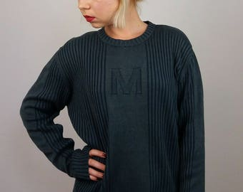 MUSTANG Vintage Unisex 90's Ribbed Cotton Knit Jumper
