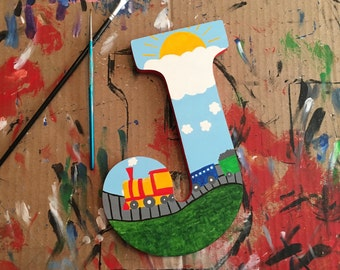 """Train 9"""" Hand-Painted Wall Letters"""