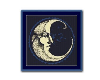 2 for 1 SALE! - Man in the Moon Cross Stitch Chart, Counted Cross Stitch Pattern, Instant Digital Download (P-501)