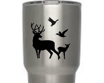 Buck, Fawn, and duck scenery, waterproof, personalize, Yeti, Ozark Trail, Rtic, tumbler, cup, gift, Laptop, tablet,