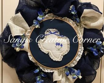 Blue Bonnet,Lone Star wreath, Cowboy, Cowgirl,Blue Bonnet Flower, Texas State; Texas Wreath, Lone Star, Blue Bonnet, Texas, Wreath, Wreaths,