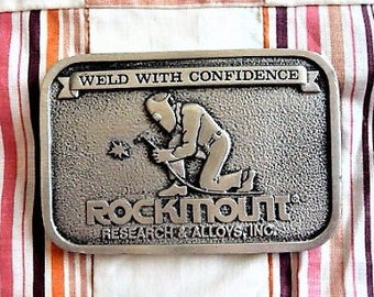 Rockmount Research & Alloys -- Vancouver Washington Welding - Advertising Belt Buckle  --  Souvenir