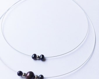 Collar cable, year of birth, in steel and black Freshwater Pearl