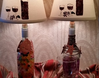 Wine lamp shade hand painted will include light kit