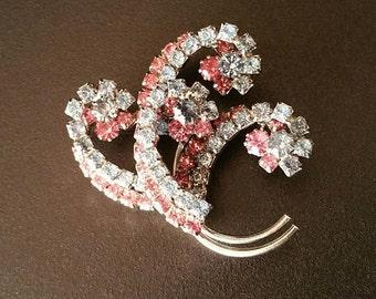 Vintage Rhinestone Brooch, Blue and Pink Brooch, Spray, Swirl, Prong Set, Rose, Light Sapphire, Sapphire, Silver Tone (A-BRO-132)a