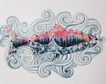 Salmon against the Current, Watercolor Painting, Pacific Northwest, Fine Art.