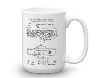 Wright Brothers Airplane Patent Mug - Patent Mug, Old Patent Mug, Aviation Mug, Airplane Mug, Pilot Gift, Wright Flyer