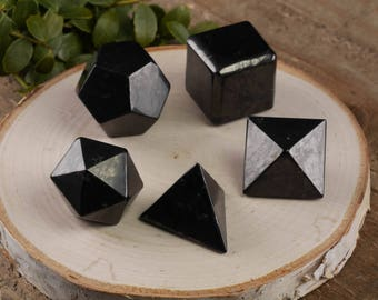 5 Piece Set SHUNGITE Platonic Solids - Sacred Geometry, Shungite Stone Carving, Grounding Stone, Root Chakra, Healing Stone E0307