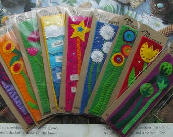 Felt BOOKMARKS, Assorted Designs, handmade to order, design your own, can be Personalised upon request