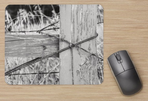 Barbed Wire Fence Mouse Pad - Farm Mousepads - Fence Computer Mat - Office Accessories - Office Decor - Desk Accessories - Office Gifts