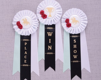 Kentucky Derby Rosette Ribbons, Kentucky Derby Decorations, Derby Party Horse Ribbons, Derby Shower Decorations