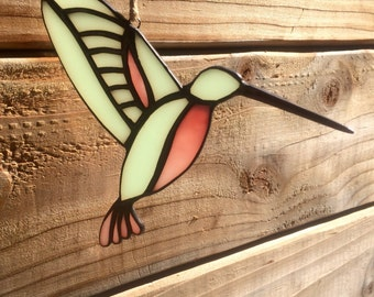 Stained Glass Hummingbird - Mint and Pink