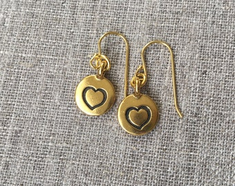 Gold Heart earrings / Gold plated etched heart earrings / Gold plated Sterling ear wires