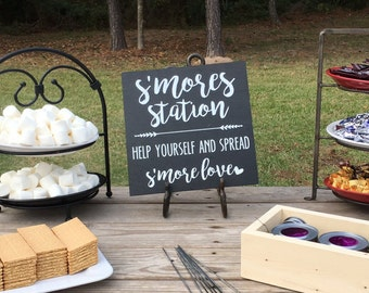 "Wooden S'mores Sign, Wedding, Party, Spread s'more love, ""chalkboard"", Wedding Decor, Event Decor, love you s'more, roast a marshmallow"