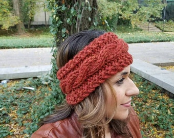 Wool Blend Knit Headband // Knit Ear Warmer // Winter Fashion Accessories // Cable Knit Headband // The Bulky Crown