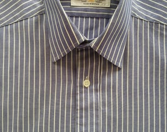 Vintage Van Heusen Pale Blue with White stripe Cotton 100 Business Shirt